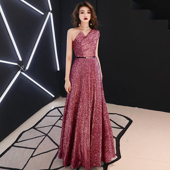 Real Photo Elegant Sequin Long Evening Dresses With Belt 2019 New one Shoulder Bridal Wedding Formal Prom Party Gowns