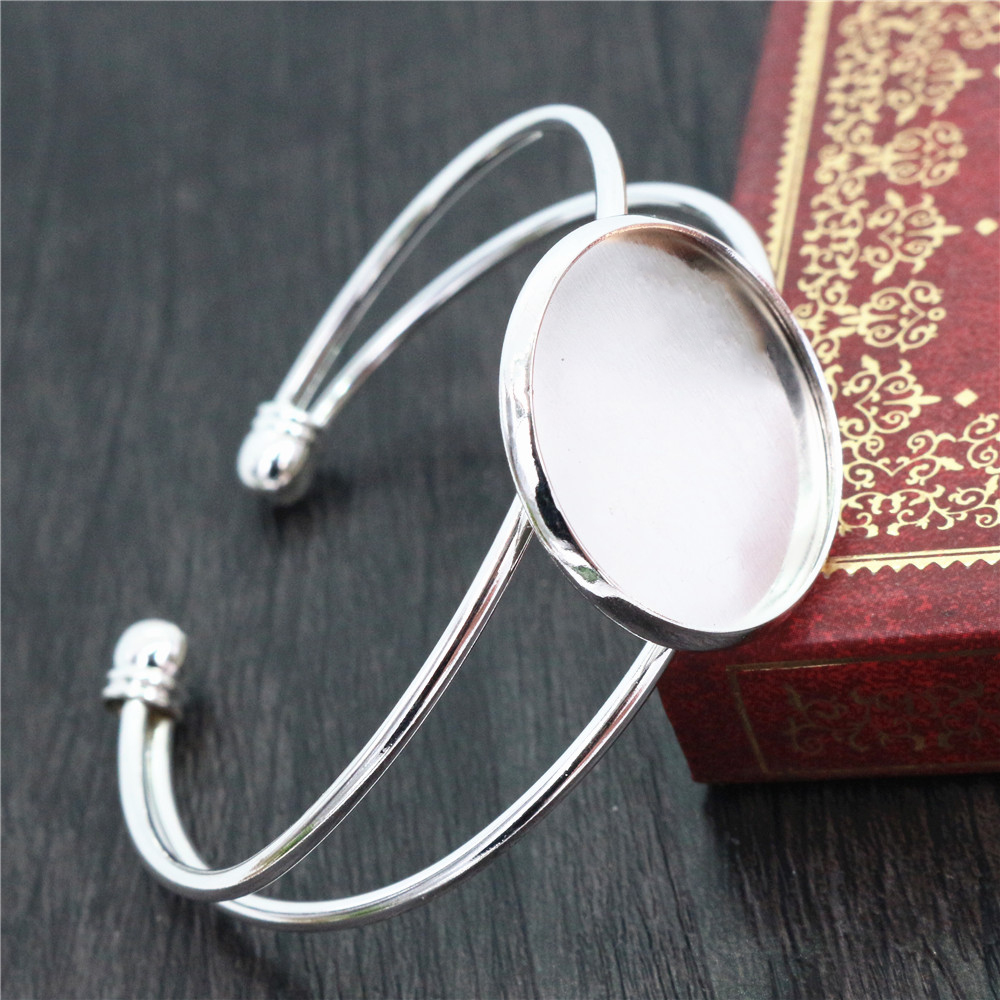 High Quality  25mm Silver Plated Bangle Base Bracelet Blank Findings Tray Bezel Setting Cabochon Cameo  (L6-01)