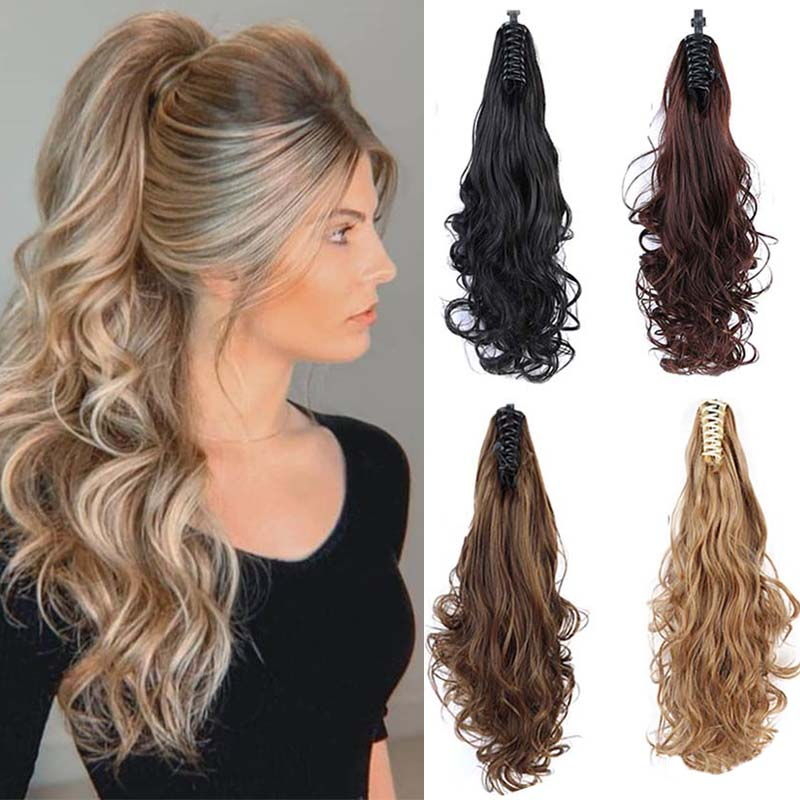 LUPU Long Curly Ponytail Claw Synthetic Natural False Hair Clip In Hair Extensions For Women Heat Resistant Hairpieces