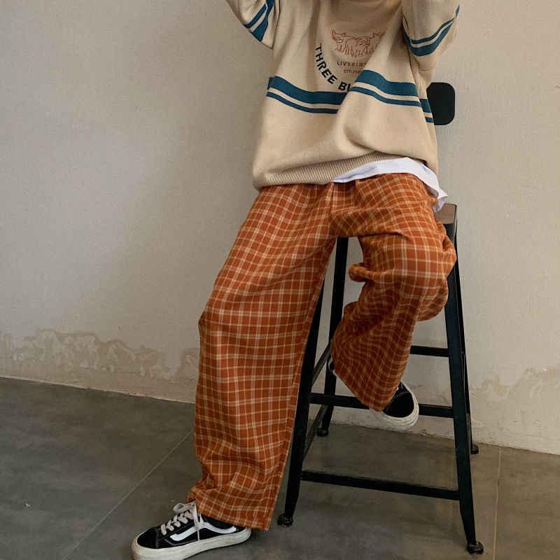 Pantalones A Cuadros Vintage Para Mujer Pantalon De Pierna Ancha De Estilo Coreano A La Moda Pantalones Extra Grandes Harajuku Azules De Verano Pantalones Y Pantalones Capri Aliexpress