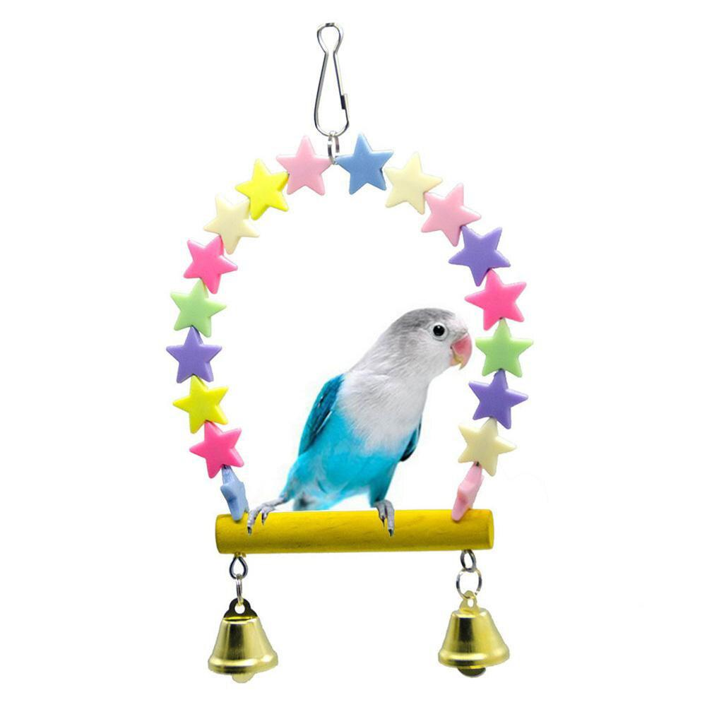 Rainbow Star Swing Bells Standing Stick Perch Rod For Small Medium Parrot Birds Toys