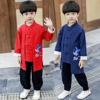 Dziecko chińskie noworoczne ubrania dla dzieci zestaw ubrań Hanfu Baby Boy chińskie tradycyjne występ na scenie orientalne przebranie na karnawał tanie i dobre opinie COTTON CN (pochodzenie) Suknem SC0005 Chłopcy Zestawy Chinese Hanfu Cosplay Costume Top+Pants Hanfu Baby Boy Top Pants