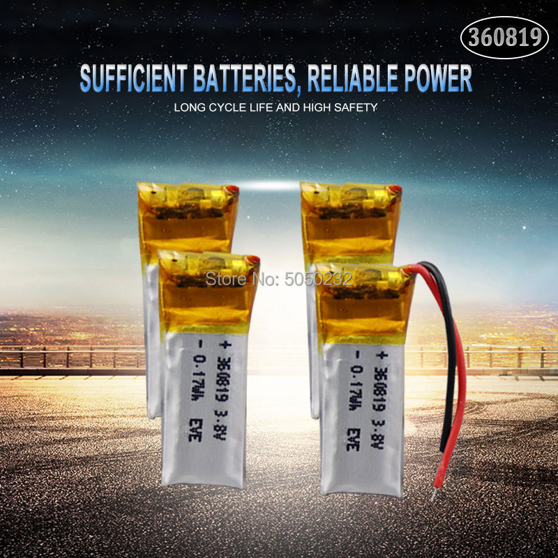 4pc <font><b>3.7v</b></font> <font><b>50mah</b></font> 360819 Lithium Polymer LiPo Rechargeable <font><b>Battery</b></font> li ion li-polymer For DIY Mp3 bluetooth Recorder headphone image
