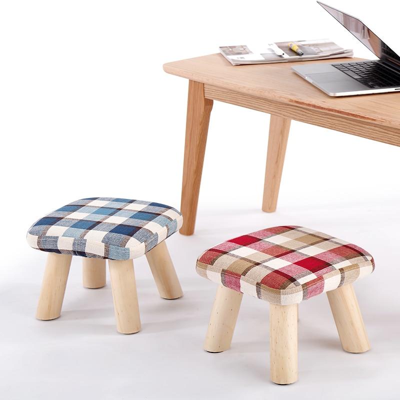 Latest fashion creativity foot white small sofa outsoor benches Minimalist Modern Small stool solid wood tea table sofa fabric|Stools & Ottomans| |  - title=