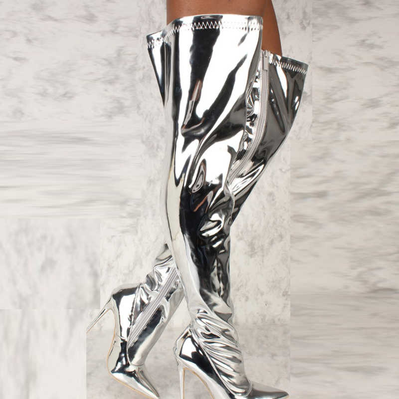 Kadın Botları Ayna Platformu Sivri Burun Punk Yüksek Ince Topuklu Diz Üzerinde Uzun Çizmeler Sonbahar Kış Zip Gümüş Rahat parti ayakkabıları