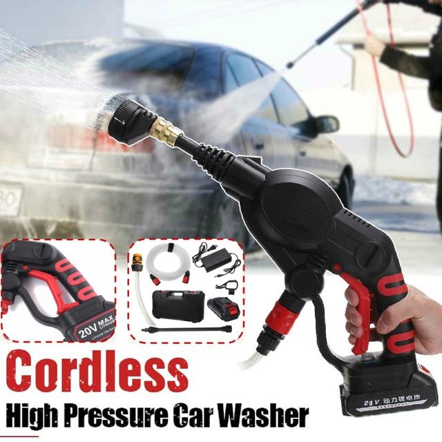320PSI yüksek basınçlı araba yıkama şarj edilebilir aksesuarları lityum pil kablosuz sprey su araba temizleme tabancası el temizleyici