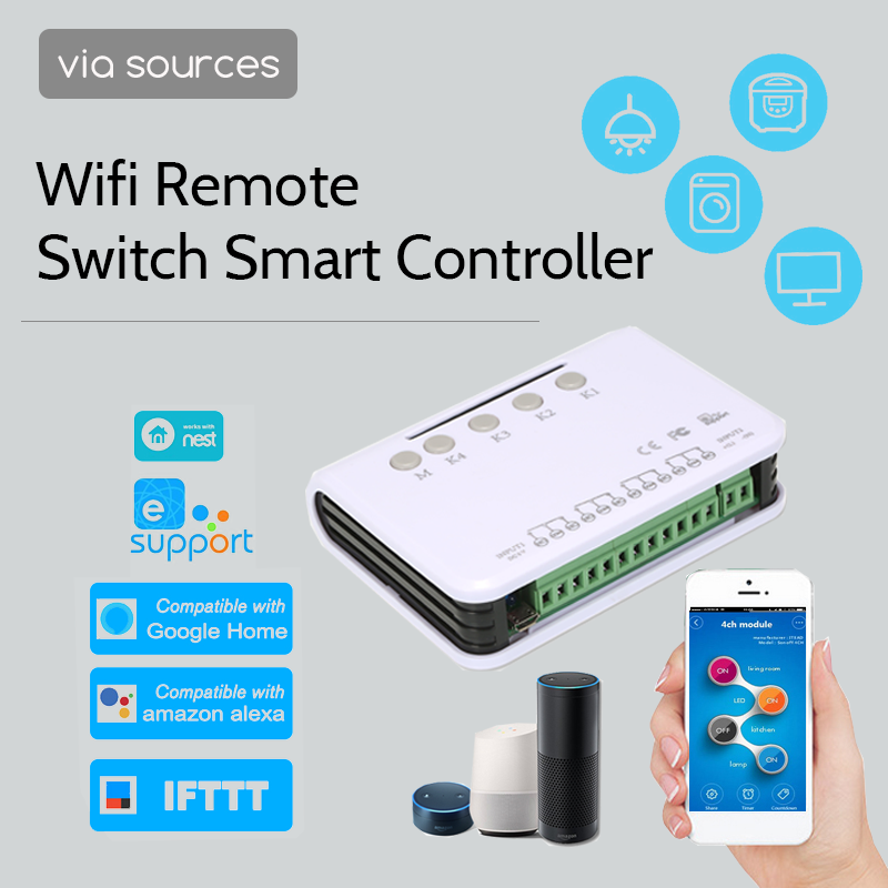 eWeLink Smart Switch Wifi Switch Controller Gagage Door Switch Smart Home Relay Module Google Home Alexa Compatible 4ch DC 5V