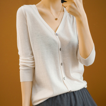 Wool Knitted Cardigan Short Women s Thin Coat Sunscreen with Air- Conditioning Shirt Loose Top New Sweater