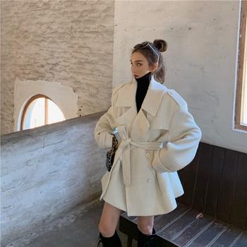 Trench Coat Women's Mid-length 2019 New Winter Retro Loose Korean Style Elegant And Versatile Fashion Woolen Coat Coat