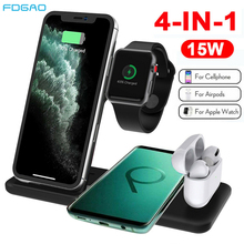 FDGAO 4 in 1 wireless Charging Dock for Apple Watch 5 4 AirPods Pro Qi 15W Fast Charger Charging Station for iPhone 11 X XS XR 8