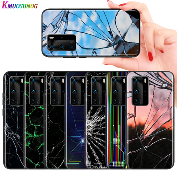 For Huawei P10 P9 P8 Lite Cover Craked screen For Huawei P40 P30 P20 Pro Lite E Plus 5G Bright Black Phone Case image