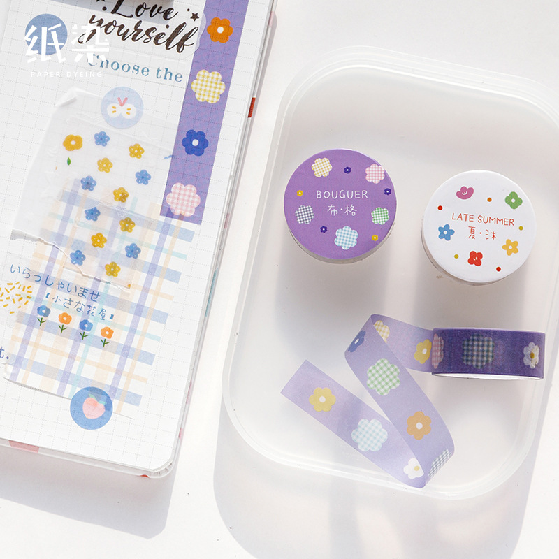 Small Fresh Flower Journal Washi Tape Garden Adhesive Tape DIY Scrapbooking Sticker Label Masking Tape Korean Stationery
