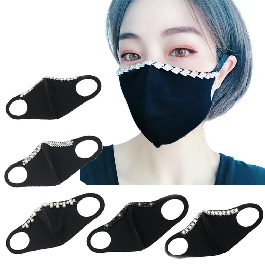 Модные женские блестящие маски для лица со стразами, черные противопыльные маски, Дымчатая губчатая маска для рта, Солнцезащитный чехол для лица|Женские маски|   | АлиЭкспресс