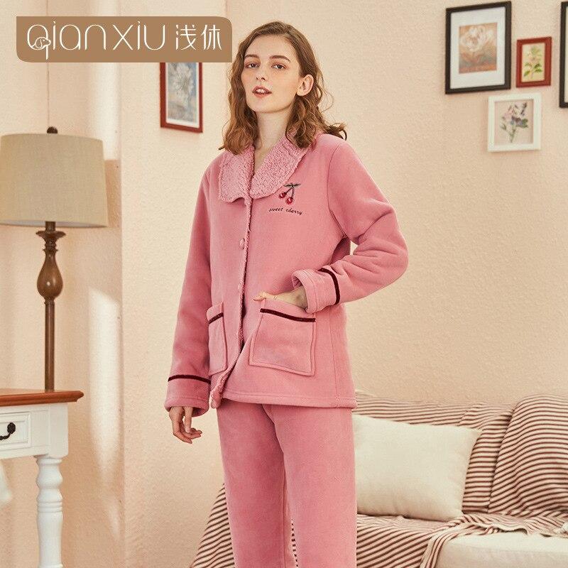 Милый Вишневый узор, зимняя Фланелевая Пижама для женщин, плюшевый тканевый кардиган, одежда для сна, Женский Пижамный костюм, домашняя одеж... - 4