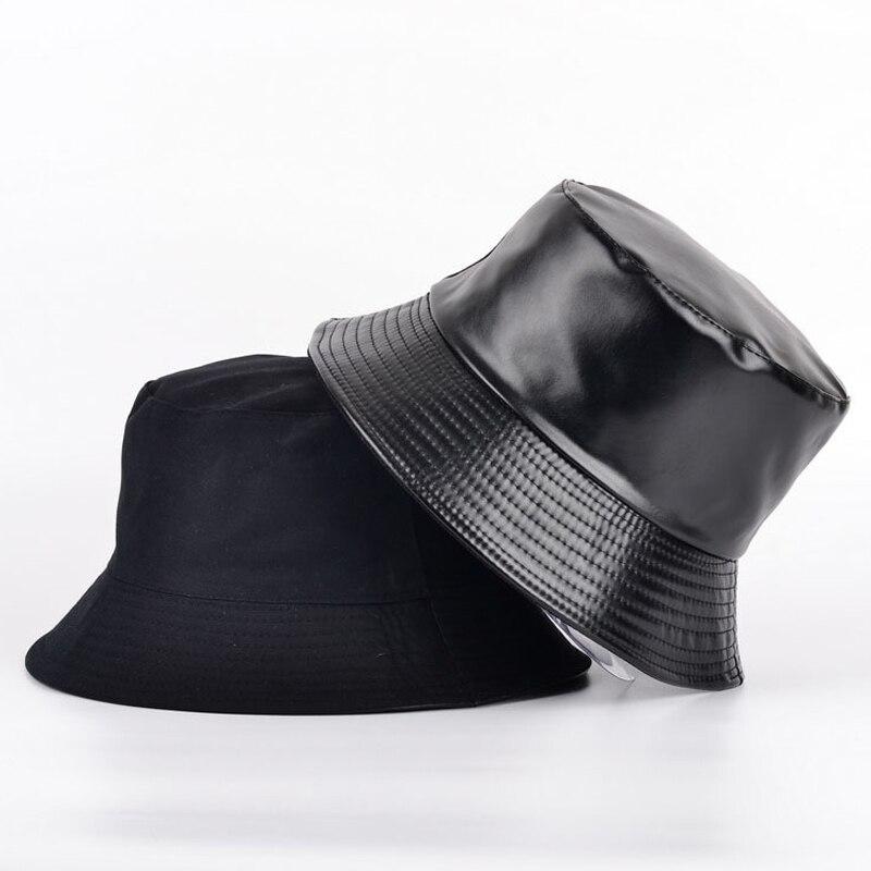 2021 apring falso couro balde chapéu dupla face chapéu pu e algodão sólido sol chapéu verão senhoras moda panamá pescador boné