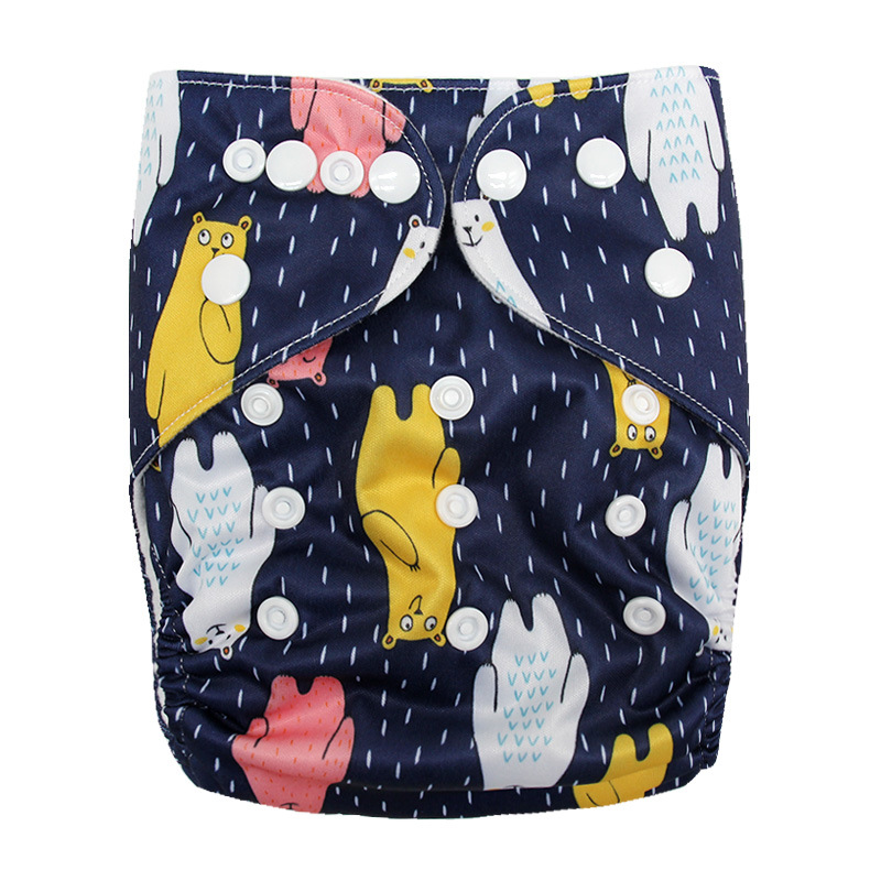 Детские моющиеся многоразовые подгузники из настоящей ткани с карманом, подгузники, чехлы для подгузников, костюмы для новорожденных и горшков, один размер, подгузники с героями мультфильмов - Цвет: Color Bear