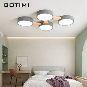 Image 3 - Botimi 220V Led Plafond Verlichting Met Ronde Metalen Lampenkap Voor Woonkamer Moderne Opbouw Plafond Licht Hout Slaapkamer lamp
