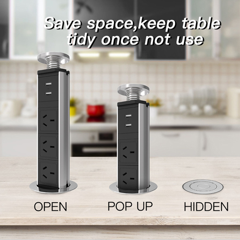 Pop Up Socket Kitchen Office Desktop Countertop Point Pull Retractable Socket Outlet Standard Power Socket EU UK &2 Usb Ports