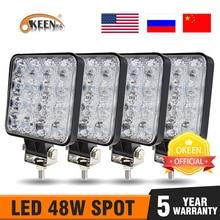 OKEEN 4Pcs LED BAR Worklight 4 นิ้ว 48 วัตต์ทำงาน 12 V LED สำหรับรถบรรทุก 4X4 uaz LED รถแทรกเตอร์ไฟหน้า IP67
