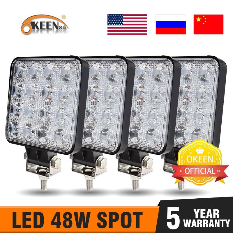 OKEEN 4Pcs Led Bar Worklight 4inch 48W Offroad Work Light 12v Light Led For Truck 4x4 Uaz Led Tractor Headlight Spotlight IP67