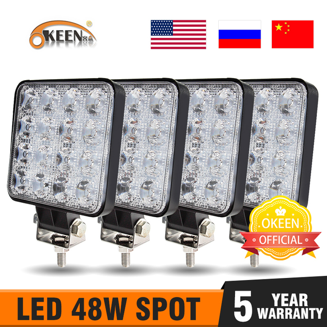 Okeen 4 Stuks Led Bar Worklight 4 Inch 48W Offroad Werk Licht 12 V Licht Led Voor Truck 4X4 Uaz Led Tractor Koplamp Spotlight IP67