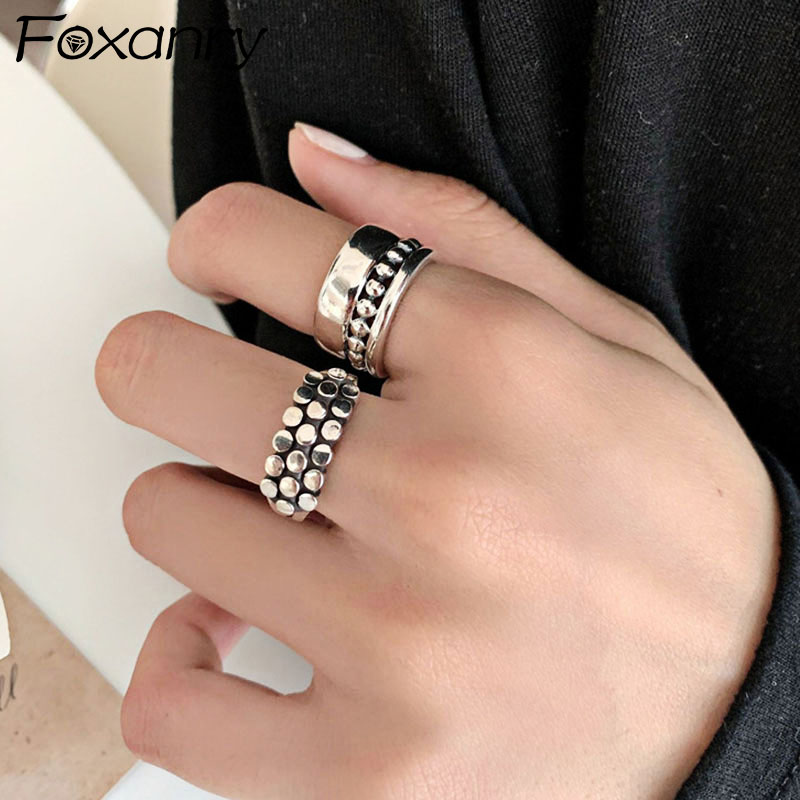 Foxanry Vintage Punk 925 Sterling Silver Width Rings Engagement Jewelry Fashion Simple Geometric Party Accessories Gifts