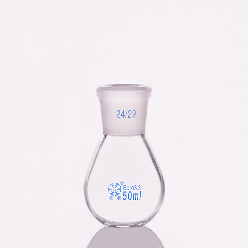 Evaporation Bottle 50ml,Flask Eggplant Shape,short Neck Standard Grinding Mouth 24/29,Eggplant-shaped Flat Bottom Flask