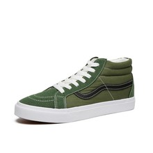 Men Women high Top sk8 color army green canvas Shoes Classic