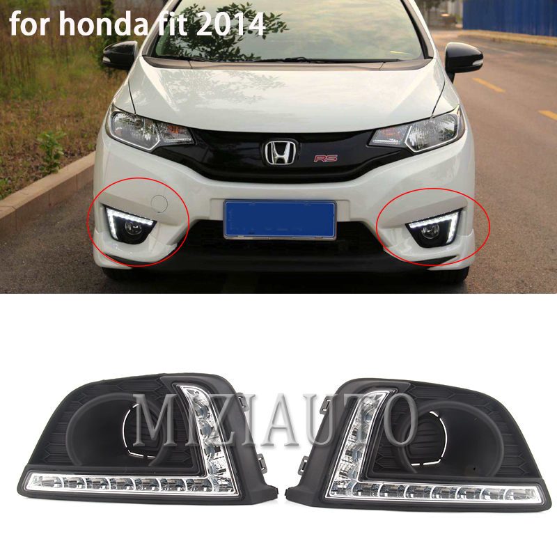 MIZIAUTO 2pcs Car Styling LED Daytime Running Lights For Honda Fit DRL 2014-2016 Fog Light Front Lamp Automobile Accessories