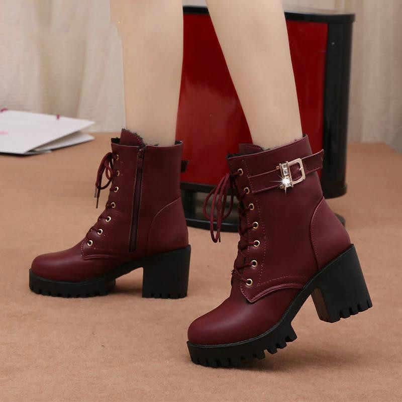 LZJ HOT Herfst Mode Vrouwen Laarzen Hoge Hakken Platform Gesp Lace Up Zip PU Lederen Korte Laarsjes Zwarte Dames Schoenen platform