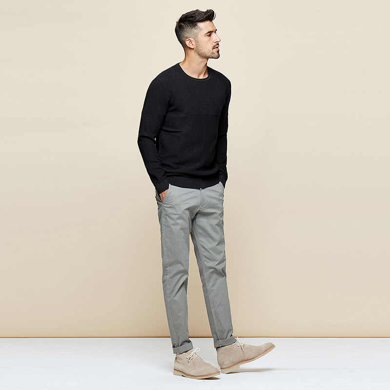 KUEGOU 가을 겨울 남성용 스웨터 새로운 단순 퓨어 컬러 뜨개질 스웨터 풀오버 남성 탑 플러스 사이즈 DZ-11863