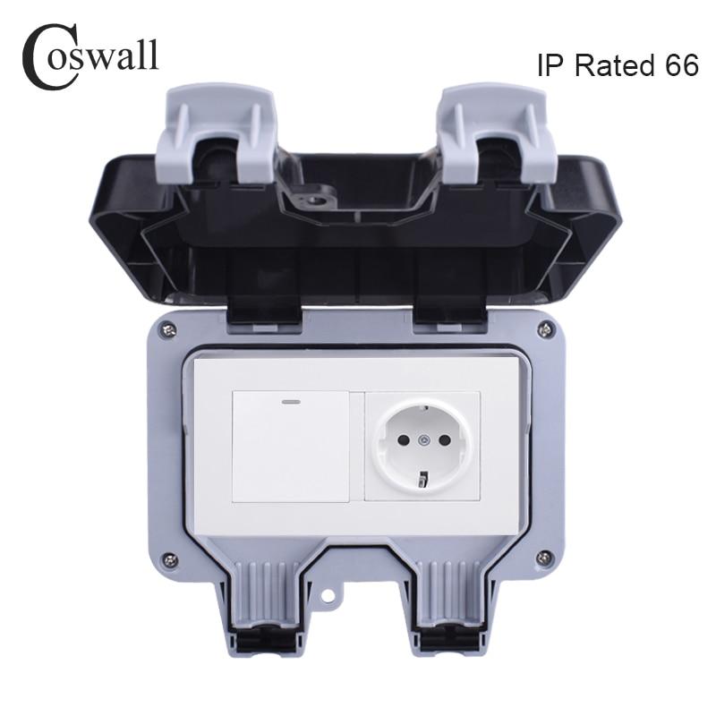 Настенная розетка Coswall IP66, водонепроницаемая, с защитой от непогоды, 16 А, европейский стандарт, 1 банда, 1-канальный выключатель, светильник