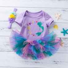 Mermaid Purple 3Pcs Clothing Sets Toddler Tutu Skirt Cute Baby Outfits Infant Tutu Girls Dress Newborn Romper Baby Girl Clothes emmababy cute princess dress newborn toddler baby girls unicorn lace tutu fly sleeve romper jumpsuit fancy dress outfits costume