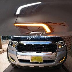 1 para DRL dla Ford Ranger 2015 2016 2017 2018 z żółtym włącz światła sygnalizacyjne światła do jazdy dziennej LED dzień jazdy lampy przeciwmgielne w Chromowane wykończenia od Samochody i motocykle na