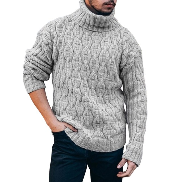 Mens Striped Long Sleeve Turtleneck Pullover Cotton Thicken Knitted Sweater C276