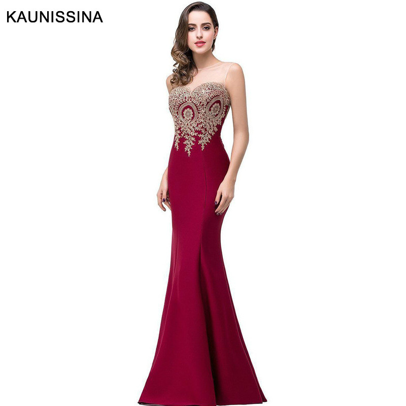KAUNISSINA Robe De Soiree Longue Sexy Backless Red Mermaid Lace Evening Dress Long Appliques Evening Gowns Banquet Vestido