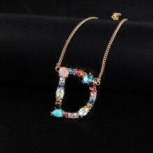 26 ожерелье с буквами алфавита многоцветная кристальная подвеска серебро/золото Очаровательное ожерелье для женщин Прямая поставка
