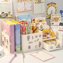 Girls Kawaii 3 In 1 Multifunctional Desktop Organizer Pen Holder Books Holder Gift Sticker School Stationery Organizer Office