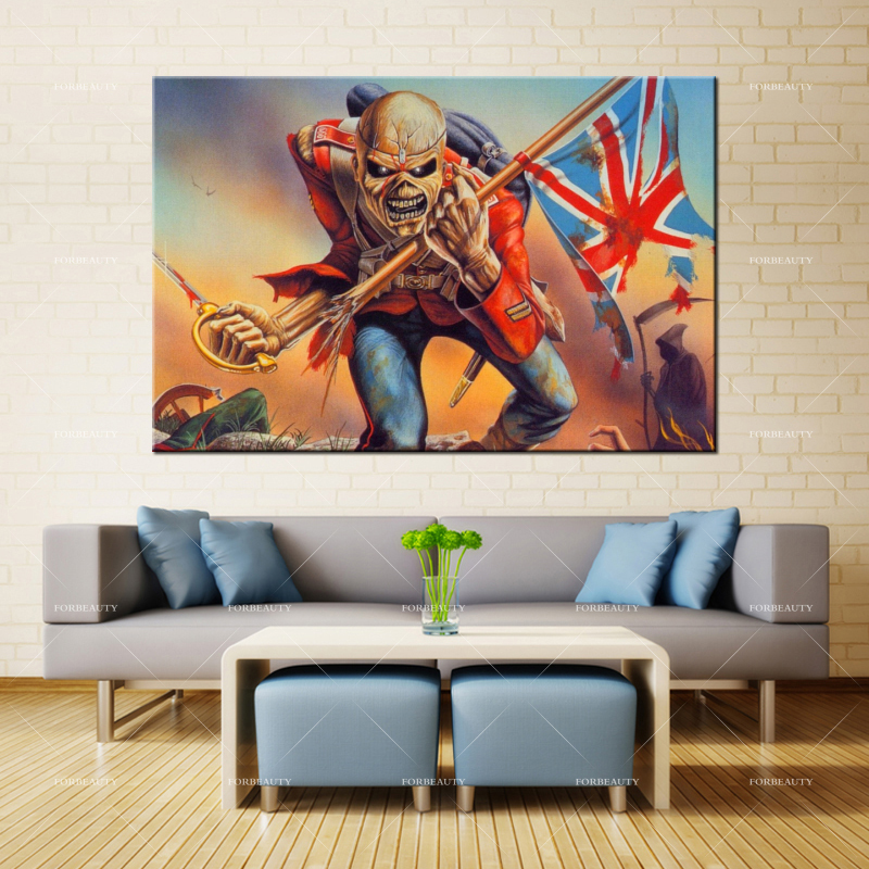 Forbeauty Canvas Painting Wall Art Iron_maiden_picture_undead_flag Spray Printing Waterproof Ink Home Decor