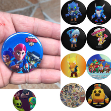 Game Brawls Stars Badges Cartoon Leon Spike Crow Toy Badge Backpacks Button Clothes Brooch Pins Badge Collection Christmas Party