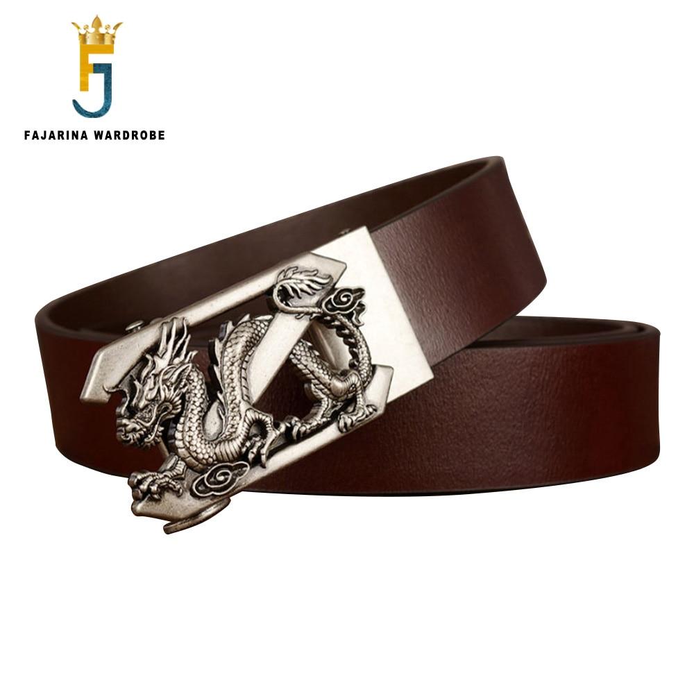 FAJARINA Men's Smooth Genuine Leather Belt Casual Design Dragon Hollowed Automatic Belts for Men 3.5cm Accessories N17FJ851