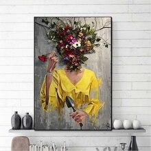 Абстрактная Картина на холсте с цветами для женщин настенный