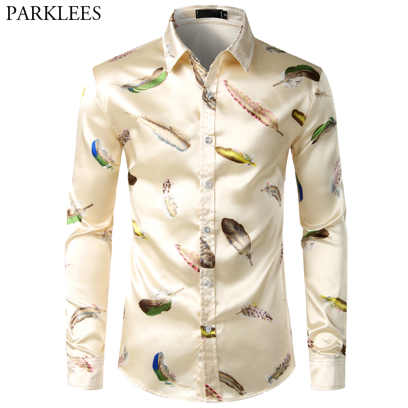 Feather Printed Silk Shirt Men Satin Smooth Men Long Sleeve Casual Party Button Down Men Designer Shirts For Men Camisas Hombre