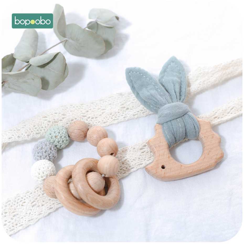 Bopoobo 1Set Wooden Beads Rattle Toy DIY Rattle Bed Toys Soother Cloth Bracelet Bunny Rattle BPA Free Teether Music Baby Product