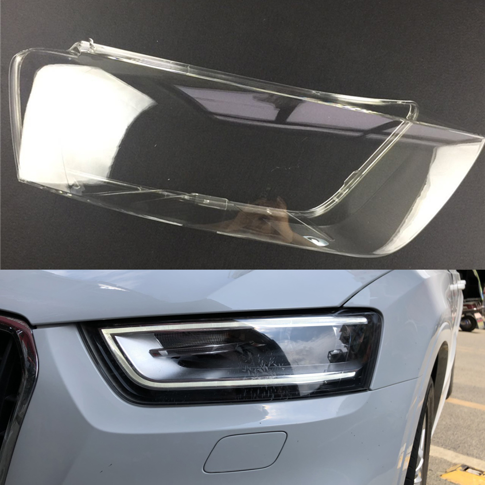 Car Headlight Lens For Audi Q3 2010 2011 2012 2013 2014 2015 Headlamp Cover Car  Replacement  Front Auto Shell Cover