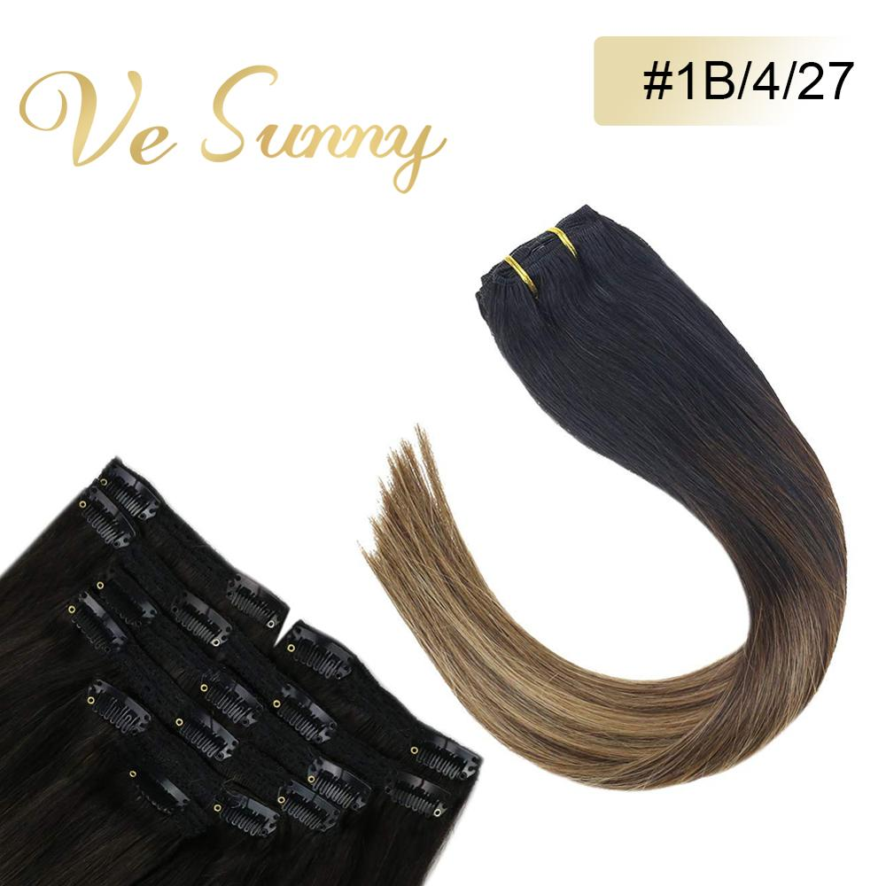 VeSunny Double Weft Clip In Hair Extensions 100% Real Human Hair 7pcs 120gr Balayage Black To Brown With Dark Blonde #1B/4/27