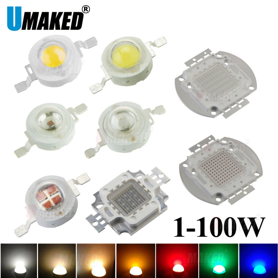 Alta potência led smd cob lâmpada chip 1 w 3 5 10 20 30 50 100 quente branco fresco vermelho verde azul 1 3 5 10 20 30 50 100 w