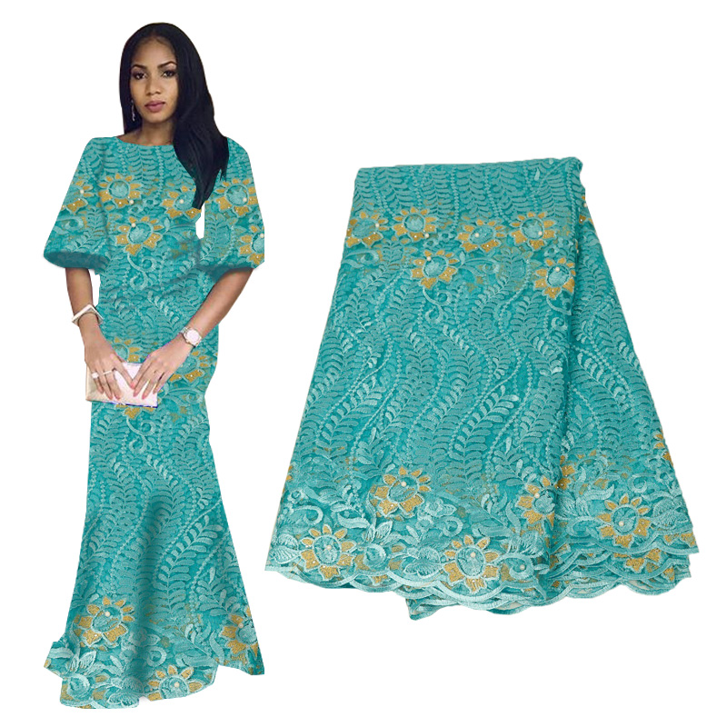 High Quality Green African Beaded Lace Fabric 2019 French Voile Lace For Wedding Party Embroidered Nigerian Lace Fabrics