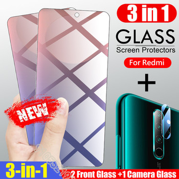Tempered Glass For Xiaomi Redmi 9 8 8A 7 7A Screen Protector Glass Redmi Note 8 8T 9S 9 5 Pro Max 3 in 1 Full Cover Glass