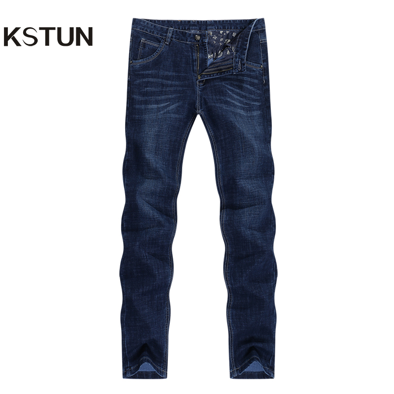 KSTUN Jeans Men Classic Straight Dark Blue Spring And Autumn Regular Fit Casual Pants Cotton Men's Clothing Trousers Male Jeans